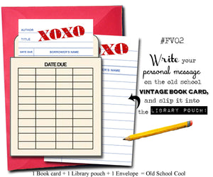 XOXO. Book themed greeting card with a vintage library pocket and envelope.