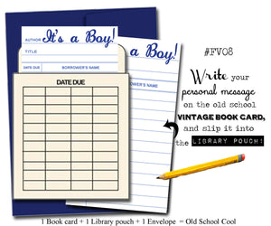 It's a Boy! . Book themed greeting card with a vintage library pocket and envelope.