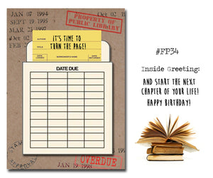 It's time to turn the page! Book Themed Birthday Card with a Vintage Book Card and Library Pouch.