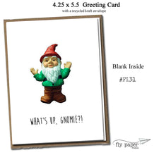 Load image into Gallery viewer, What's up, Gnomie?! Classic Linen Series Greeting Card- Friendship Card