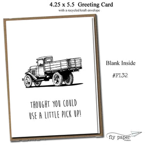 Thought you could use a little pick up! Classic Linen Series Greeting Card- Friendship Card