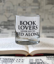 Load image into Gallery viewer, Book Lovers never go to Bed Alone- 11oz Glass Tumbler
