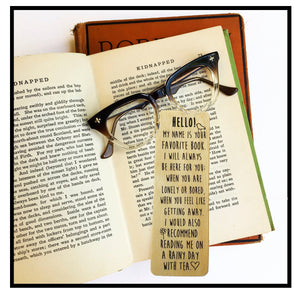 Hello! My name is your favorite book... - Wooden Birch Bookmark