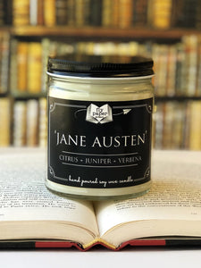 Jane Austen 9oz Soy Candle - Citrus + Juniper + Vetiver
