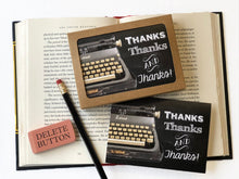 Load image into Gallery viewer, Thanks, thanks and thanks-vintage typewriter- Boxed Thank You Cards