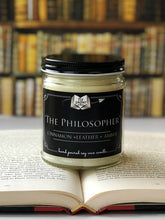 Load image into Gallery viewer, The Philosopher - Cinnamon + Leather + Amber - 9oz Hand Poured Literary Soy Candle