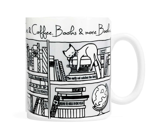 Cats, Coffee, Books and more books-  11 ounce Ceramic Mug
