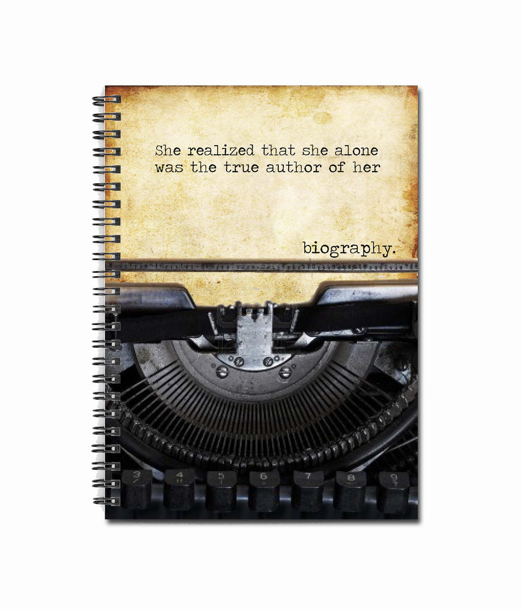 She realized that she alone was the true author of her biography 80 page Note Book - Vintage Typewriter - Feminism - Female Empowerment