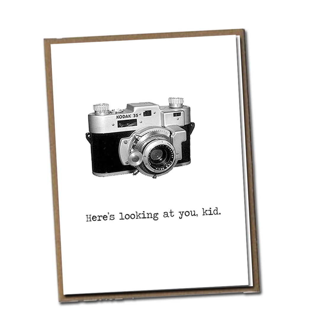Here's looking at you, kid. Classic Linen Series Greeting Card- Blank Inside