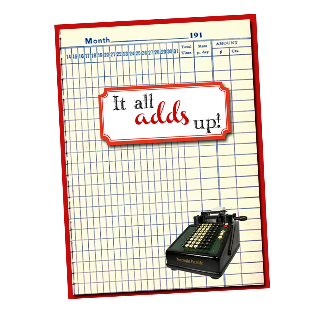 It all adds up!  Math Geek themed Thank You card.