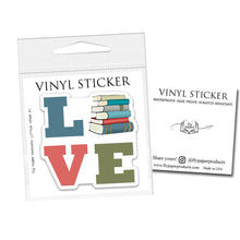 "Load image into Gallery viewer, Cats, Coffee & Books- 3"" vinyl Sticker"