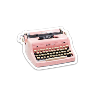"Pink Royal Vintage Typewriter- 3"" vinyl Sticker"