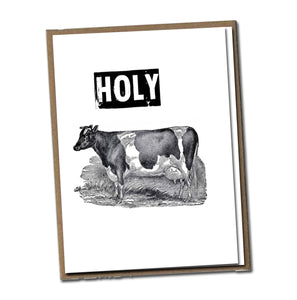 Holy Cow. Classic Linen Series Greeting Card- Blank Inside