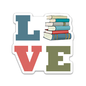 "Love Books- 3"" vinyl Sticker"