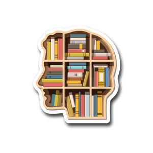 "Book Brain-  3"" vinyl Sticker"