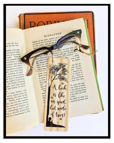 A Book is like an ipad, but made of trees -Wooden Birch Bookmark- Eco Friendly - Bookworm Gift - Gifts for Book Lovers - Made in Michigan