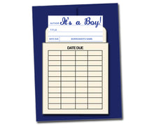 Load image into Gallery viewer, It's a Boy! . Book themed greeting card with a vintage library pocket and envelope.