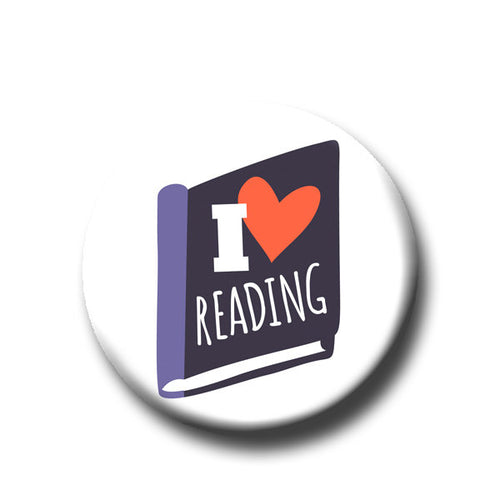 I Heart Reading -Pin Back Button - Reader Gift - Teacher Gift- Button Pin - Cute Button Pin - Literary - 1.25