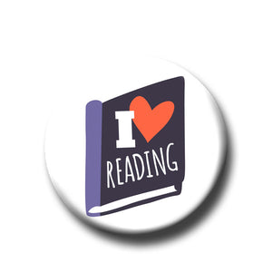I Heart Reading -Pin Back Button