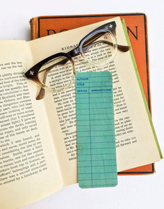 Blue Library Book Card design -Wooden Maple Bookmark
