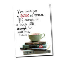 Load image into Gallery viewer, You can't get a cup of tea big enough or a book long enough to suit me. C.S Lewis. Greeting card with vintage book card and library pocket.