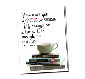 You can't get a cup of tea big enough or a book long enough to suit me. C.S Lewis. Greeting card with vintage book card and library pocket.