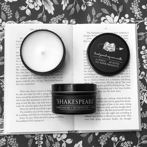 Shakespeare 6oz Tin Soy Candle - Rosewood + Cardamom + Oud