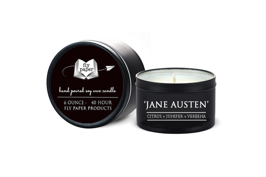 Jane Austen - 6oz Tin Soy Candle - Citrus + Juniper + Vetiver