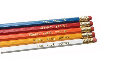 Set of 5 Colorful Assorted Grammar Pencils