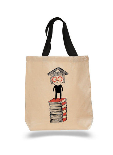 Red Stack of Books-Cotton Canvas Book Bag