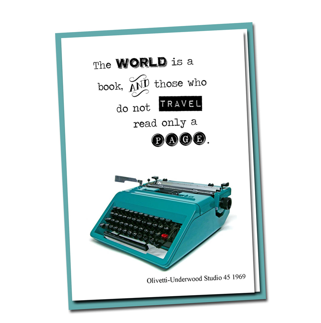 The World is a book and those who do not travel read only a page - Vintage Typewriter Card - Blank Card- Travel - Friendship - Wisdom