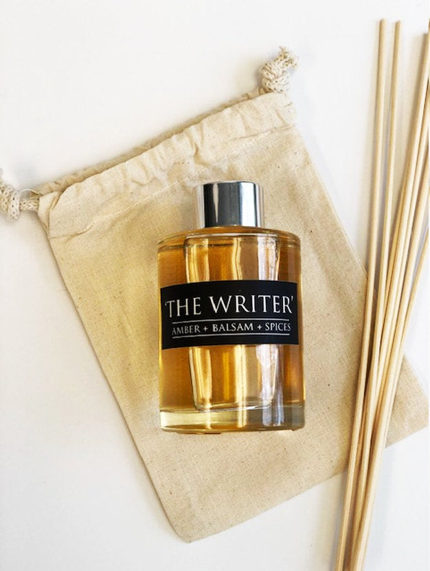The Writer - 4oz Reed Diffuser Set- Amber + Balsam + Fresh Spices