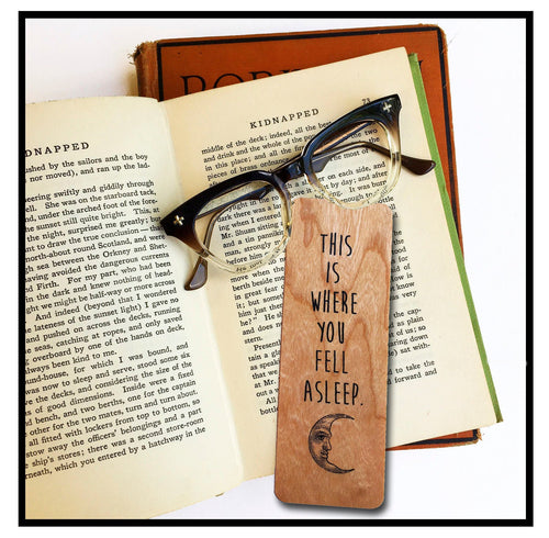 This is where you fell asleep. Wooden Cherry Bookmark - Eco Friendly - Bookworm Gift - Gifts for Book Lovers - Made in Michigan