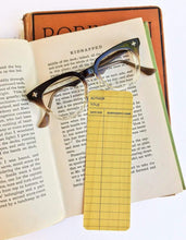 Load image into Gallery viewer, Yellow Library Book Card design -Wooden Maple Bookmark