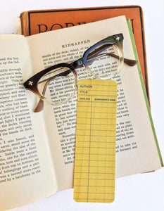 Yellow Library Book Card design -Wooden Maple Bookmark