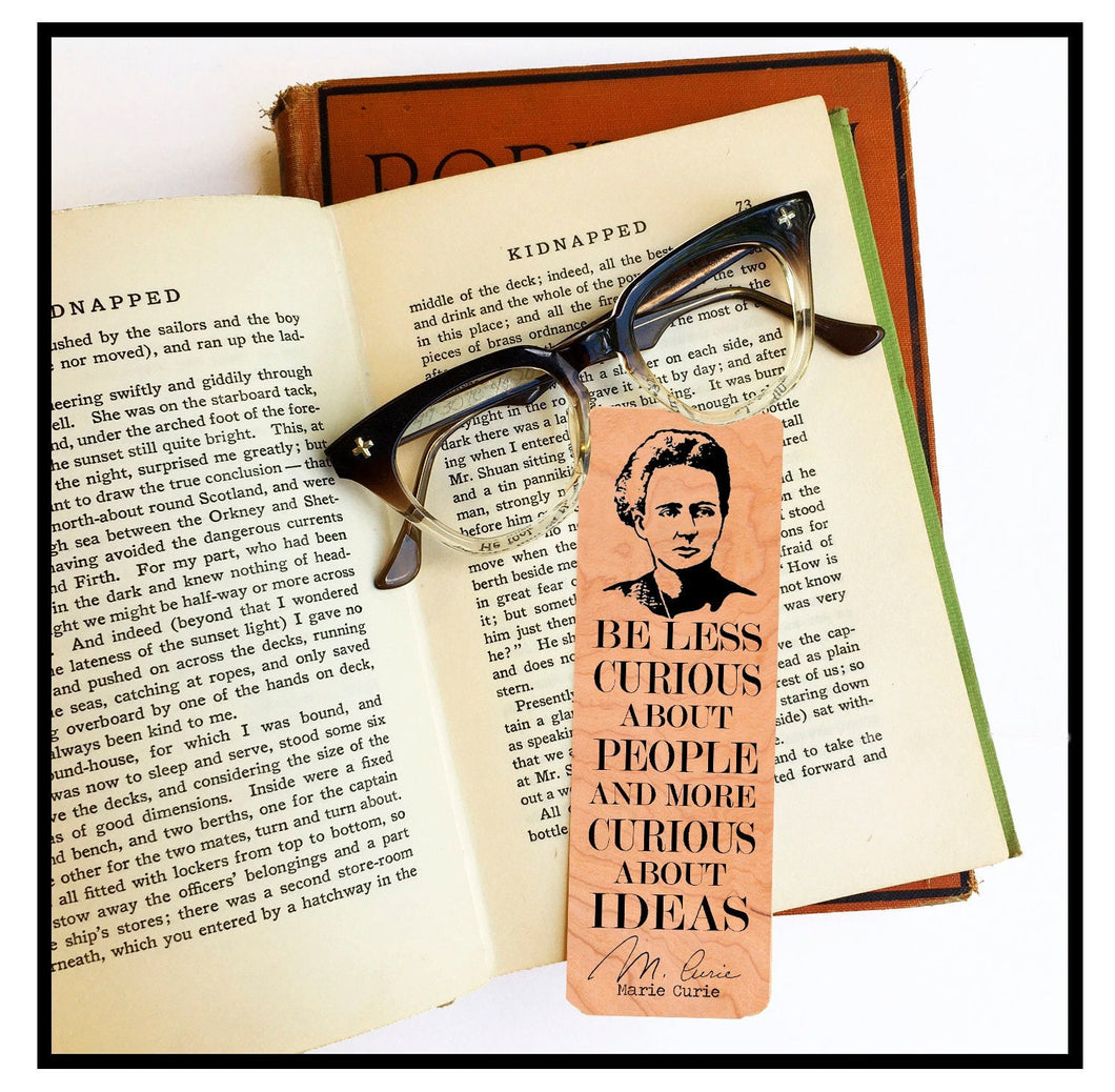 Marie Curie Cherry Wood Bookmark