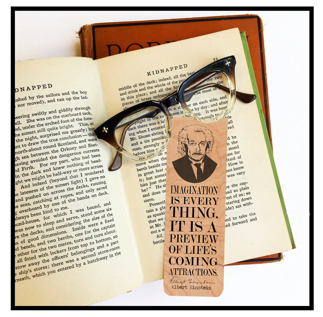 Albert Einstein Bookmark- Cherry Wood Bookmark