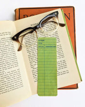 Load image into Gallery viewer, Green Library Book Card design-  Wooden Maple Bookmark- Eco Friendly - Bookworm Gift - Gifts for Book Lovers - Biblioteque - Bibliphile