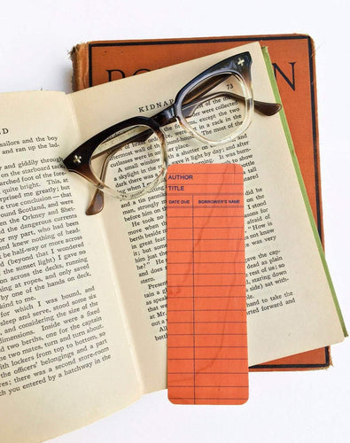 Salmon Library Book Card design -Wooden Maple Bookmark