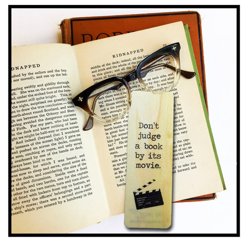 Don't judge a book by its movie -Wooden Poplar Bookmark--Eco Friendly - Bookworm Gift - Gifts for Book Lovers - Made in Michigan
