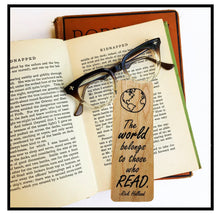 Load image into Gallery viewer, The world belongs to those who read- Wooden Cherry Bookmark