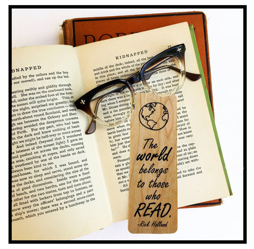 The world belongs to those who read- Wooden Cherry Bookmark -Eco Friendly - Bookworm Gift - Gifts for Book Lovers - Made in Michigan