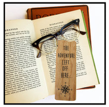 Load image into Gallery viewer, The adventure left off here- Wooden Cherry Bookmark