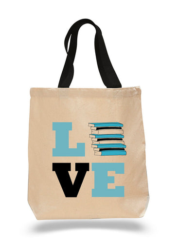 Love Books-Cotton Canvas Book Bag
