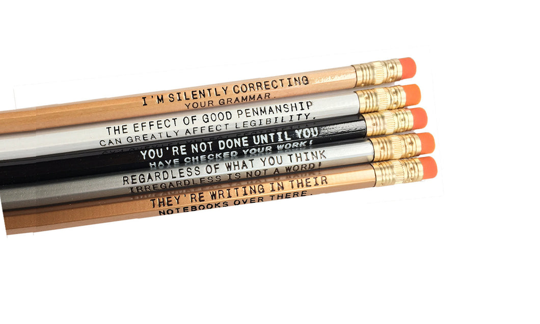 Set of 5 Assorted Deluxe 2 line Grammar Pencils