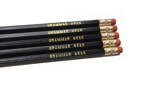 Set of 5 'Grammar Geek' Pencils