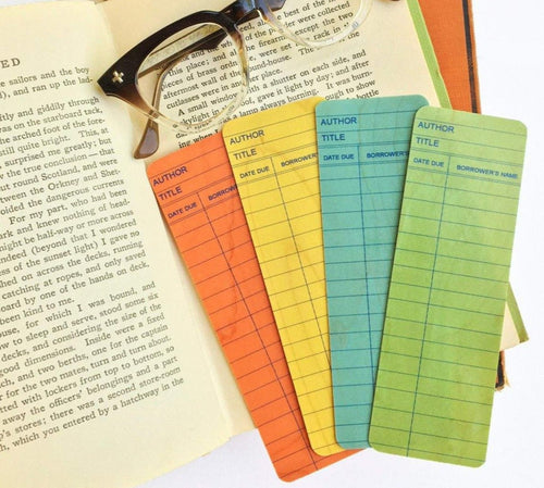 Set of 4 Library Card Wooden Maple Bookmarks