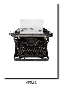 Thank you- Vintage Typewriter-Greeting card with vintage book card and library pocket.