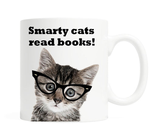 Smarty cats read books!- 11 ounce Ceramic Mug