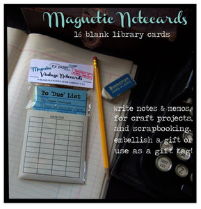 Magnetic Memo Vintage Library Book Cards + 25 Assorted Replacement Library Card Set